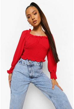 Red Petite Ruffle Square Neck Shirred Crop