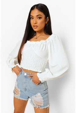 White Petite Ruffle Square Neck Shirred Crop