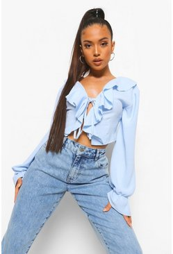 Sky blue Petite Ruffle Lace Up Woven Crop