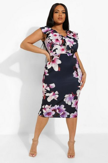 Navy Plus Occasion Ruffle Floral Midi Dress