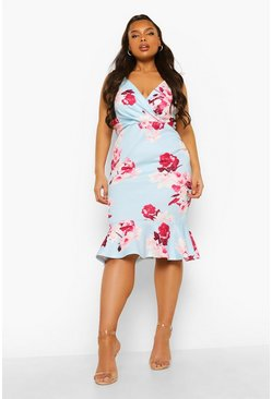 Light blue blue Plus Occasion Floral Wrap Peplum Midi Dress