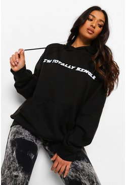 "PETITE Hoodie mit ""I'm Totally Single""-Print, Schwarz"