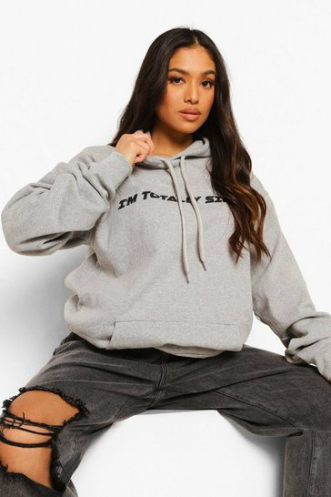 Grey Marl Petite I'M Totally Single Printed Hoodie