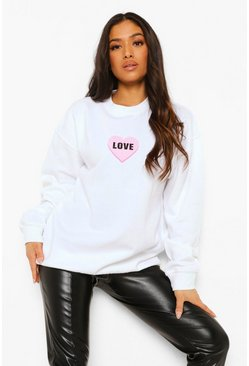 White Petite Love Heart Print Sweat