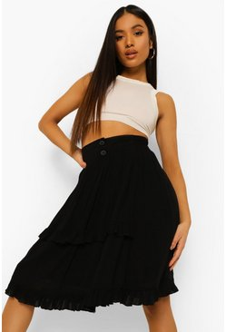 Black Petite Frill Detail Cheesecloth Skirt