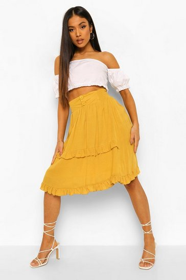 Mustard yellow Petite Frill Detail Cheesecloth Skirt