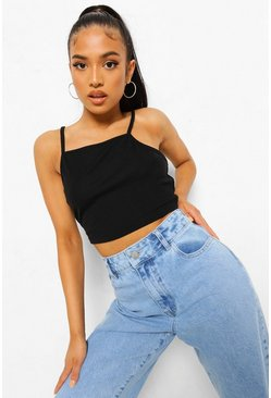 Black Petite Square Neck Rib Crop Top, Черный Чёрный
