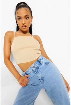 Beige Petite Square Neck Rib Crop Top, Песочный Бежевый