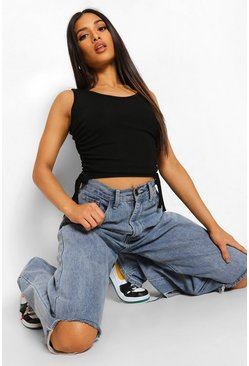 Black Petite Ruched Side Rib Crop Top