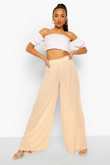 Stone beige Petite Shirred Waist Wide Leg Cheesecloth Culottes