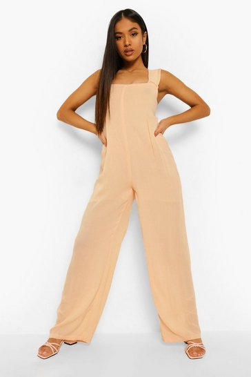 Pink Petite Cheesecloth Jumpsuit