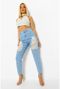 Light blue blue Petite Thigh Distressed Mom Jean