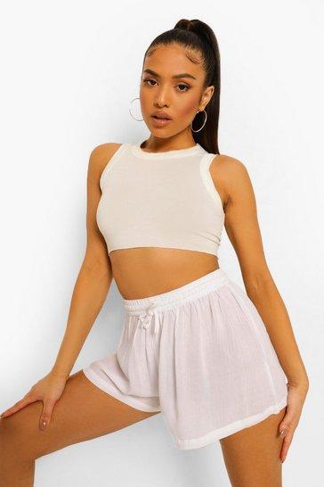 White Petite Tie Waist Cheesecloth Shorts