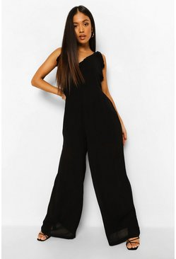 Black Petite Wide Leg Cheesecloth Cami Jumpsuit