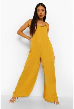 Mustard yellow Petite Wide Leg Cheesecloth Cami Jumpsuit