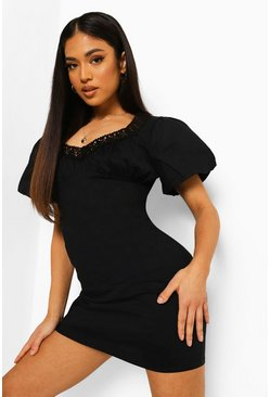 Black Petite Crochet Trim Sweetheart Shift Dress