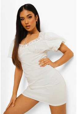 White Petite Crochet Trim Sweetheart Shift Dress