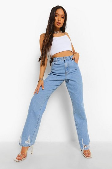 Light blue blue Petite Distressed Split Hem Straight Leg Jean