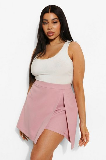Blush pink Plus Woven Split Front Skort