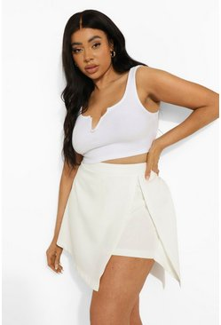 White Plus Woven Split Front Skort