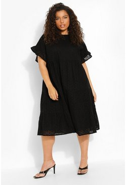 Black Plus Broderie Anglaise Tiered Midi Dress