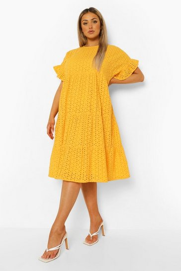 Mustard yellow Plus Broderie Anglaise Tiered Midi Dress