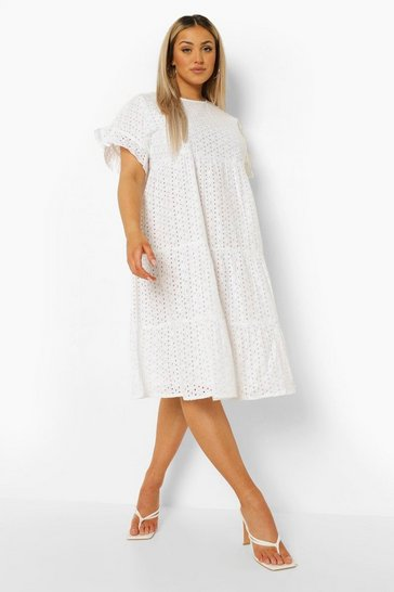 White Plus Broderie Anglaise Tiered Midi Dress