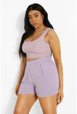 Lilac purple Plus V-shape Waist Flippy Shorts