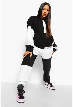 Black Petite Patchwork Colour Block Tracksuit