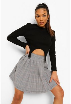 Black Petite Woven Check Pleated Mini Skirt