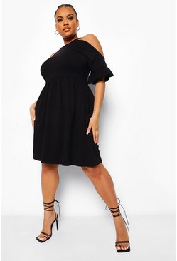 Black Plus Cold Shoulder Smock Dress