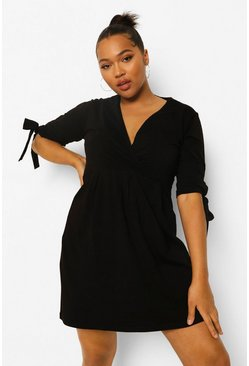 Black Plus Wrap Tie Skater Dress