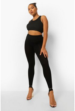 Black Plus Jersey Stirrup Leggings
