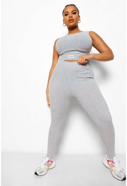 Grey marl grey Plus Rib Stirrup Leggings
