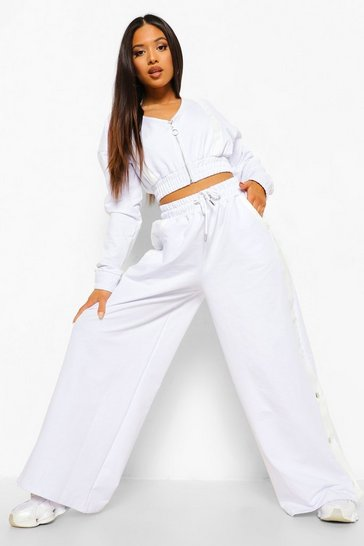 White Petite Zip Up Wide Leg Tracksuit