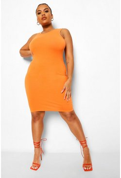 Orange Plus Racer Bodycon Dress