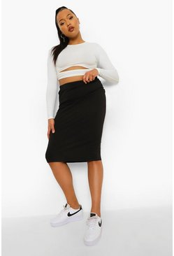 Black Plus Tube Midi Skirt