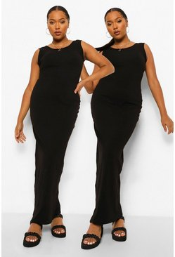 Black Plus Basic Maxi Dress 2 Pack