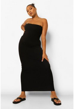 Black Plus Bandeau Basic Maxi Dress