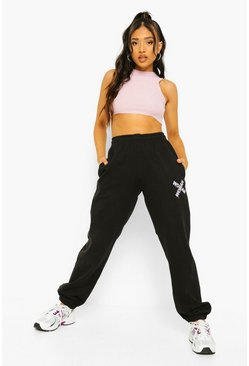 Black Petite Woman Graffiti Print Jogger