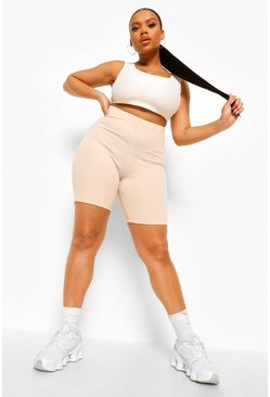 Ecru white Plus V Ruched Bum Crinkle Rib Cycling Short