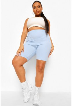 Dusty blue blue Plus Longline Crinkle Rib Cycling Shorts