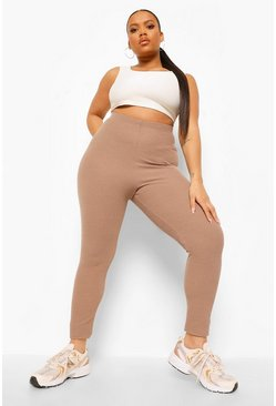 Plus V Ruched Bum Crinkle  Rib Leggings, Mocha beige