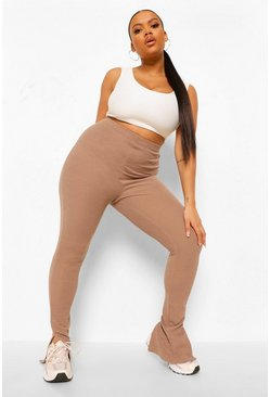 Mocha beige Plus Split Hem Crinkle Rib Leggings