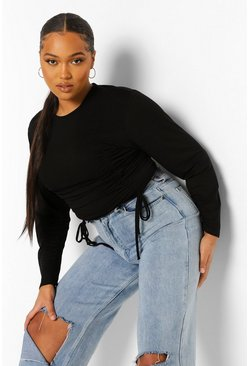 Black Plus Ruched Tie Crop Top