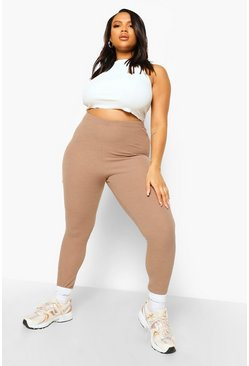 Mocha beige Plus Crinkle Rib Basic High Waist Leggings