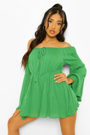 Green Petite Cheesecloth Cold Shoulder Playsuit