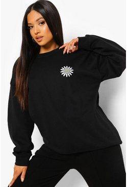 Black Petite Daisy Smiley Sweatshirt