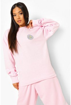 Light pink pink Petite Daisy Happy Face Sweatshirt