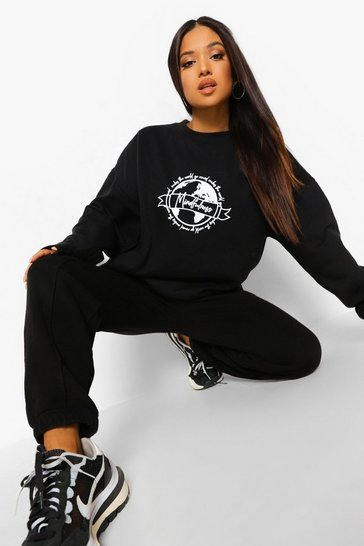 Black Petite Earth Print Oversized Sweatshirt